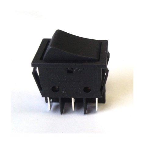 Standard Double Pole 10A DPDT Rocker Switch (Black)