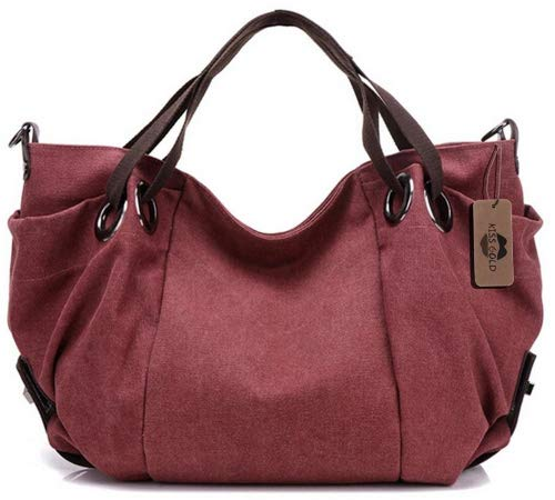 KISS GOLD(TM) Women's Canvas Hobo Top-handle Bag Crossbody Shoulder Bag, European Style, Burgundy