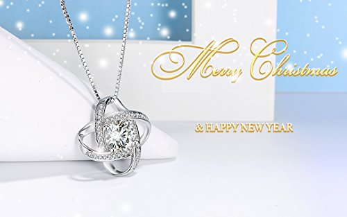 "♛J.Rosée♛ Necklace ""Never Be Apart"" 925 Sterling Silver and Platinum 3A Zirconia 45cm+5cm(18in+2in) for Lady Beloved with Exquisite Gift Package"