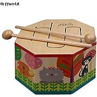 Orff World Cartoon Wooden Hand Drum Beating Montessori Instrument con Tres Tonos de Regalo para bebé niño niño Principiante SYG (S)