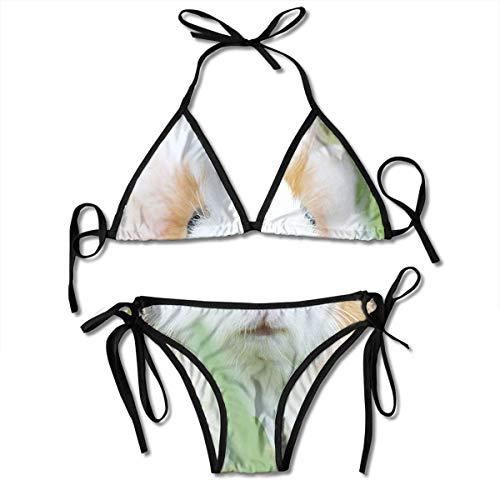 Sexy Triangle Bathing Two Pieces Cute Bamboo Rat (2) Women's Tie Side Bottom Triangle Bikini Badeanzüge Women's Two Piece Bathing Suit Triangle Bikini Set -