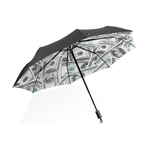 XiangHeFu Regenschirm mit 100 Dollar-Scheinen, automatisches Öffnen, 3 Falten, leicht, UV-Schutz