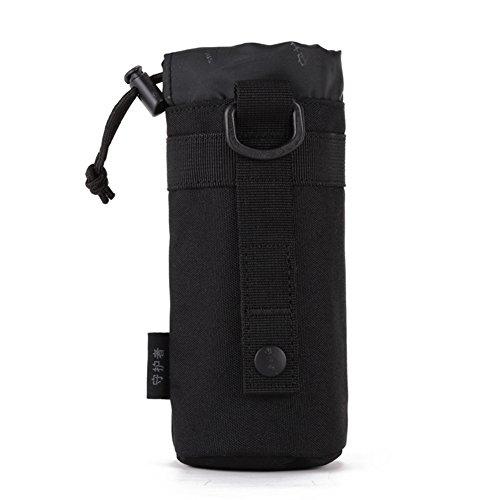 CREATOR Verstellbar Tactical Wasser Flasche Tasche Faltbare Molle-Flasche Halterung Befestigung Träger für Rucksack/Taille Tasche/Gürtel, Schwarz - Taille Befestigung