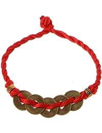 SimpleLife Pulseras de Cadena roja Monedas de Cobre de la Suerte Colgante del Brazalete de Riqueza del Feng Shui Chino para Mujeres bebés Mujeres