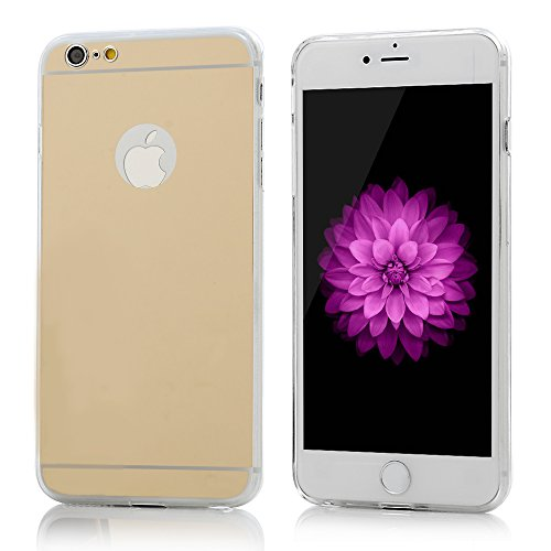 Lanveni® Gespiegelt TPU Softcase für iPhone 6 Plus/ 6s Plus(5,5 Zoll)Cover Schutzhülle Telefon-Kasten Backcover Shell Handyhülle Bumper Handycase Rose Gold Tyrant Gold