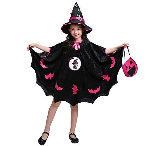 LOLANTA Mädchen böse Hexe Kostüm Kind Stich Hexe Mantel Halloween Cosplay Kostüm Mantel + Hut + Tasche (134/140 (8-9 (Stich Mädchen Kostüm)