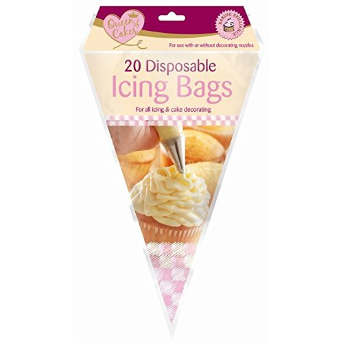 20 x Queen Of Cakes Disposable Piping Icing Bags For All Icing and Cake Decorating Use With Or Without Decorating Nozzles