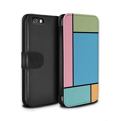 Stuff4 Coque/Etui/Housse Cuir PU Case/Cover pour Apple iPhone SE / 5 Carreaux/Turquoise Design / Carreaux Pastel Collection 5 Carreaux/Bleu