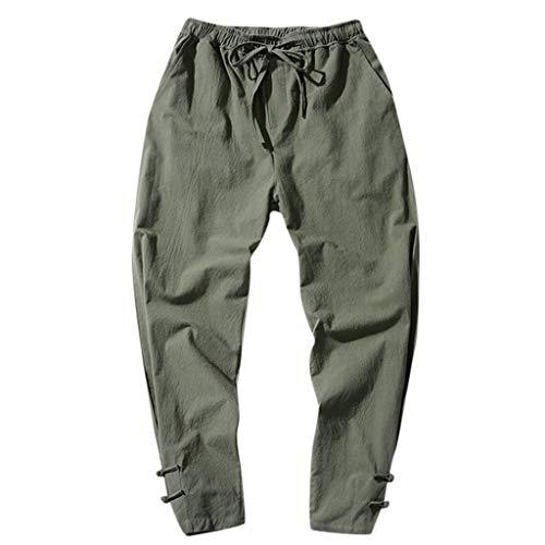 iHAZA Herren Baumwolle Leinen Neun Hosen Reine Farbe Hosen Schnalle Hosen