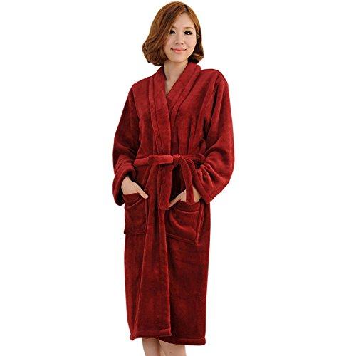 Peluche col ch?le Veste polaire long Kimono Pyjama Peignoir Robe Wrap Wine Red