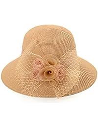 H.ZHOU Pamelas Sombrero De Visera del Casquillo del Verano De Las Mujeres  Sombrero del Sol Sombrero De Paja Sombrero De La Playa… 9f8ef707a90