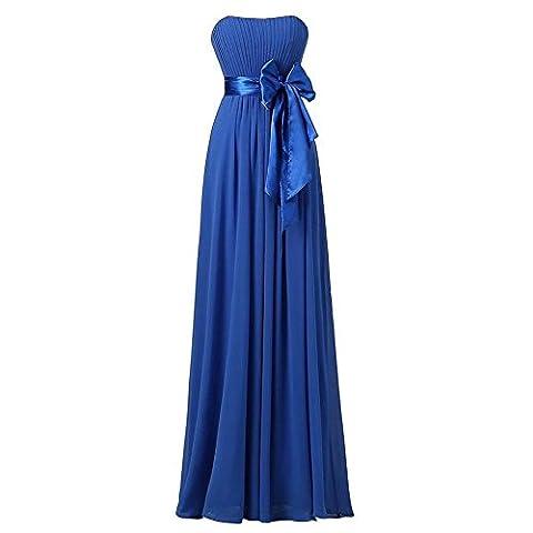 Women Evening Dress Long Wedding Party Bridal Bridesmaids Birthday Prom Banquet Bow Knot Chiffon Dresses . Blue . Us22