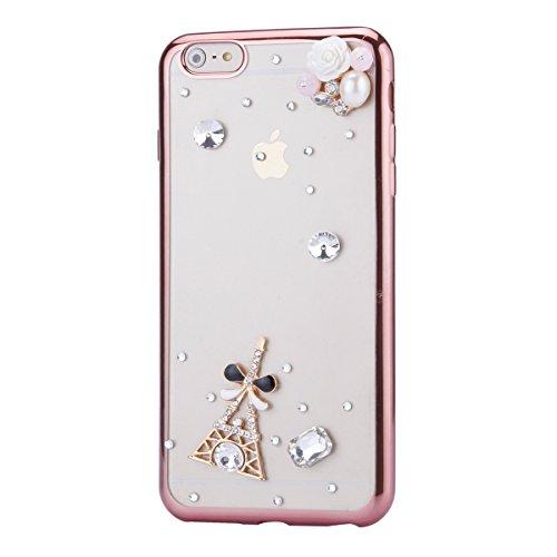 iPhone 6 Plus Hülle,iPhone 6s Plus Case,iPhone 6 Plus Bling Case - Felfy Ultradünne Transparent Gel TPU Silikon Diamond Skin Bling Glitte Kristall Schutzfolie Glitzer Silber Silikon Crystal Case Durch C19