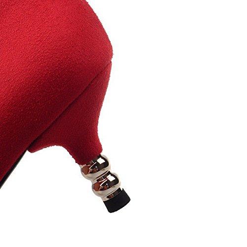 AllhqFashion Damen Rein Mattglasbirne Ziehen Auf Spitz Zehe Pumps Schuhe Rot