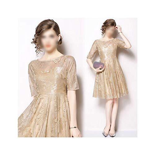 Bademode Temperament Einfarbig Spitze Rundhals Fünf-Punkt-Ärmel Taille Dünnes Kleid Elegantes langes Spitzenkleid Bikinis (Farbe : Champagne Gold, Size : L) (Gold Champagne Kleid)