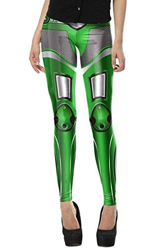 NLENG Damen 3D Digital-Karikatur-Druck-Strecken-Gamaschen Footless Strumpfhosen Robot Serial-Green Free Size
