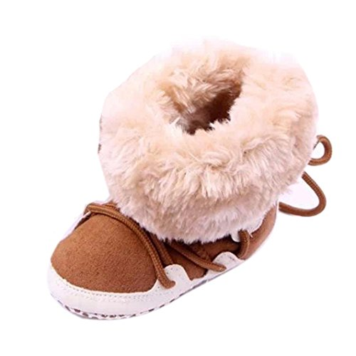 SOMESUN Stiefel Winter Babys Schuhe Warmes Häkelnstrick Fleece Boot Schnee Shoes (3-6 Monate, Kaffee)