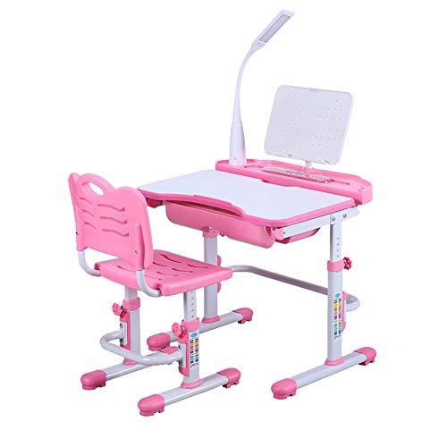 SHIOUCY Tisch & Stuhlsets Kinderschreibtisch Schreibtisch Und Stuhl Höhenverstellbar Stuhl-Set Bücherregal Kinder-Schreibtisch Mit Stühlen Schublade Led-Lampe Farbe Rosa