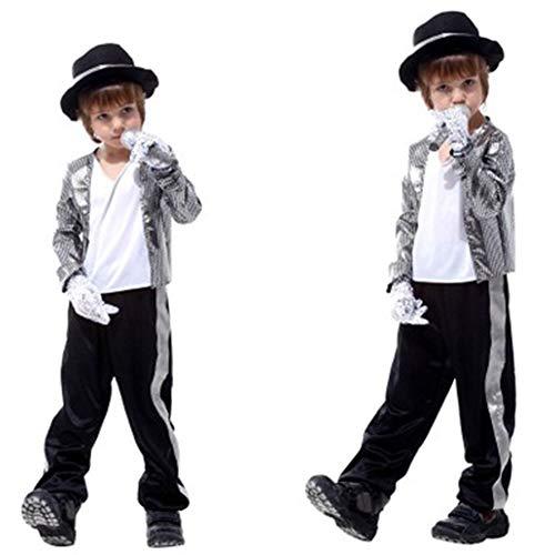 Kinder Michael Jackson Kostüm Halloween Maskerade Party Random Dance Ghost Step Boy Dress Up Kinder Cosplay Kleidung,L (Step Dance Kostüm)