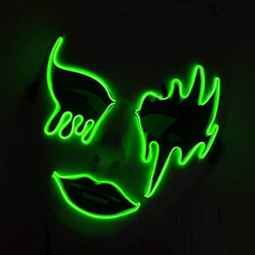 WEII Halloween Handgemalte EL Kaltlicht Leuchtende Maske LED Party Maske PVC Ghost Grimasse Kaltlicht Maske,Leuchtendes Grü,Einheitsgröße