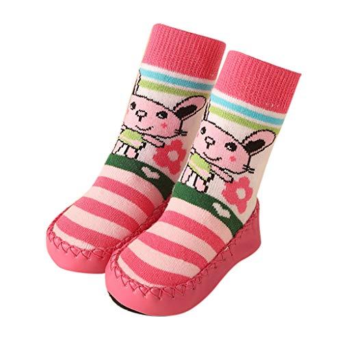 Mymyguoe Unisex-Kinder Babysocken Schuhe Slip-On Anti Slip Fußboden-Socken Kleinkind Hüttenschuhe aus weichem Baumwolle Bottom Hausschuhe mit Cartoon Muster Infant Newborn Socken Stiefeln