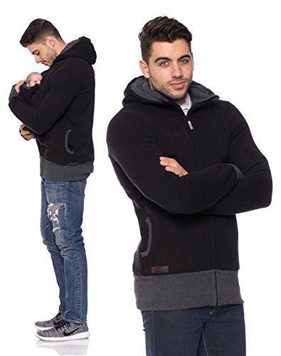 Milchshake - Tragejacke für Männer, Papa + Baby Jacke, CarryMe Schwarz