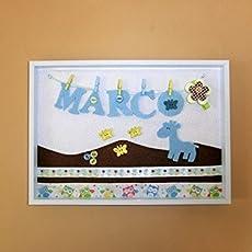 Cuadro personalizado A9 con el nombre del bebe para la habitación del recién nacido. Con telas de fieltro y algodón. Medidas: 22 X 30 cm. Ideal para ...