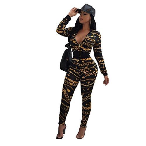 Neue Damen 2Stück schwarz & gold Kette Print Leggings Set Hose Jumpsuit Catsuit Clubwear Kleidung Größe XL UK 14–16EU 42–44 (Clubwear-kette)