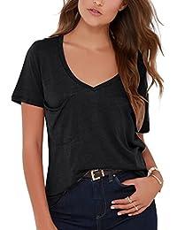 JL&LJ Donna T-Shirt Top Cotone Estate V-Collo Tee Giacca Sciolto Manica Corta Irregolare Camicetta