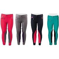 PFIFF 102603 Ella - Pantalones de equitación para niña, Ribeteado de Tela, Color Turquesa y Negro, tamaño 110