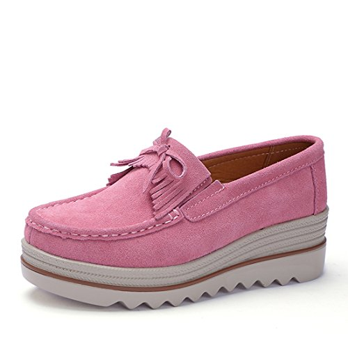 b0a59646 Z.SUO Mujer Mocasines de Cuero Gamuza Moda Loafers Casual Zapatos(42 EU,