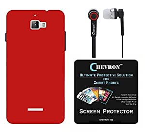 Chevron Rubberized Back Cover Case for Coolpad Dazen 1 with HD Screen Guard & Chevron 3.5mm Stereo Earphones (Red)