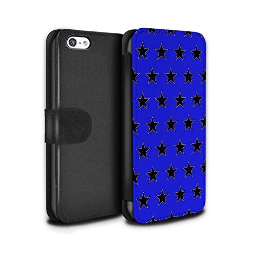 Stuff4 Coque/Etui/Housse Cuir PU Case/Cover pour Apple iPhone 5C / Vert Design / Motif Étoiles Collection Bleu