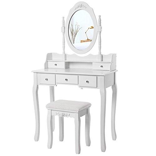 Songmics Blanco Tocador Mesa de maquillaje belleza 5 Cajones Espejo giratorio Taburete acolchado RDT15W