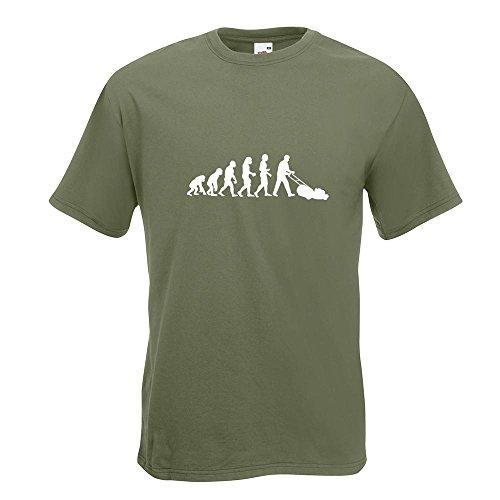 KIWISTAR - Evolution Rasenmäher T-Shirt in 15 verschiedenen Farben - Herren Funshirt bedruckt Design Sprüche Spruch Motive Oberteil Baumwolle Print Größe S M L XL XXL Olive