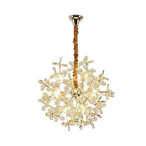 Europäische Art-kreative goldene runde Kristall-LED-Tropfen-Licht-Befestigung 12 heller amerikanischer Art-moderner minimalistischer warmer Esszimmer-Kristallkronleuchter