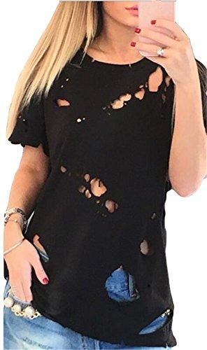 Femmes Crew Mode cou à manches courtes T Destroied Trous en vrac-shirt décontracté Top Noir