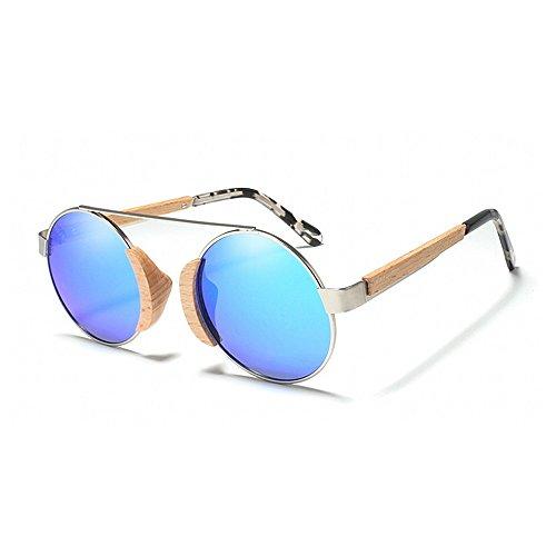 Yiph-Sunglass Sonnenbrillen Mode Damen Sonnenbrillen Vintage Holz polarisiert für Metallrahmen Sonnenbrillen Runde Klassische Unisex UV Schutz Fahren Sonnenbrillen Strand Sonnenbrillen (Farbe : Blau)