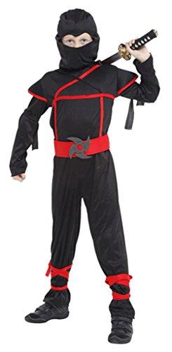BELLA-Costume Ninja per Bambini 4-12anni Vestito Travestimento Carnevale Halloween Cosplay Nero Petto 66-76cm