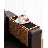 صينية ذراع أريكة من GEHE طاولة للأريكة مرنة / قابلة للطي أريكة الأريكة طاولة ذراع مثالية للمشروبات والوجبات الخفيفة والتحكم عن بعد أو الهاتف صينية ذراع كبيرة ومسند ذراع الأريكة Bamboo Brown