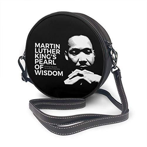 fhjhfgjghfjghfj Women Round Crossbody Bag Umhängetasche, Martin Luther King's Pearl of Wisdom Handbag Purse Single Shoulder Bag PU Leather Chain Strap Handle Tote - Martin Single