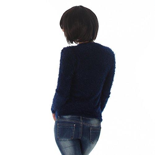 Reckon Damen Pullover Pulli Sweater V-Ausschnitt Langarm Sweatshirt Shirt Uni Flausch 34,36,38,40 Marineblau