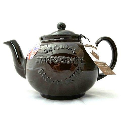 6 Tassen, Betty-Teekanne in Rockingham-braun mit geprägtem Logo