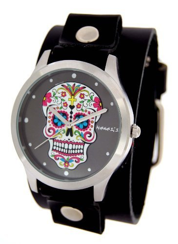 Nemesis #GB925K Women's Black Wide Leather Band With Tattoo Skull Watch