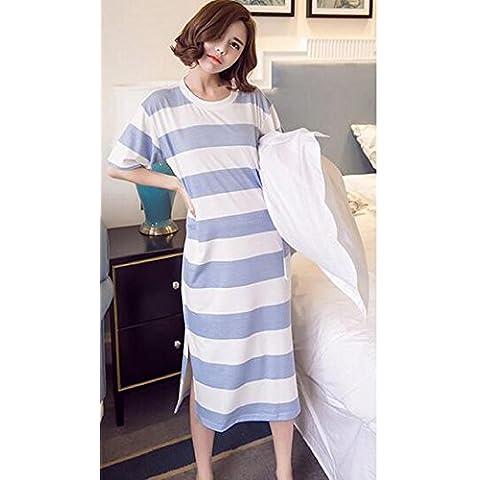 Pijamas de vestir de mujer Simple falda de rayas de manga corta de algodón de estilo , blue stripes , m