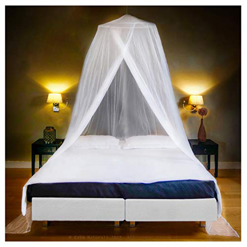 EVEN NATURALS Luxus Moskitonetz Doppelbett für XXL Bett, Mückennetz Outdoor inkl. Montagematerial, Mosquito Netz Reise, Fliegennetz, einfache Anbringung, Tragetasche, Keine Chemikalien