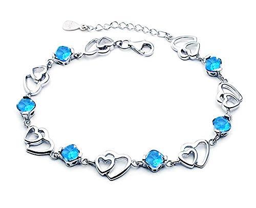 findout Amethyst rot, rosa, blau, weiß-Kristallherz-Silber-Armband für Frauen Mädchen. (blauen Kristall)