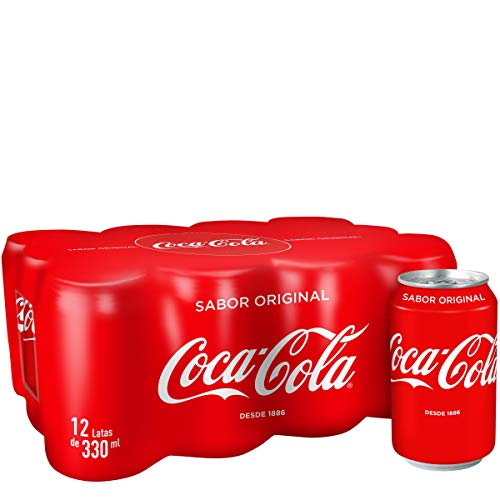 Coca-Cola - Regular, Refresco con gas de cola, 330 ml (Pack de 12), Lata