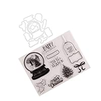 ‏‪EXCEART 1 Set Christmas Clear Stamp Reusable Christmas Theme Clear Stamps Christmas Clear Stamps for Scrapbooking Card Making Seals Dies‬‏