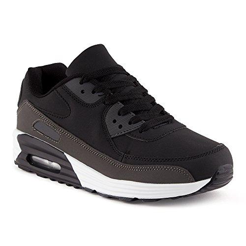 FiveSix Herren Damen Sportschuhe Dämpfung Sneaker Laufschuhe Schwarz/Grau-M EU 41 (Sneakers Knights)